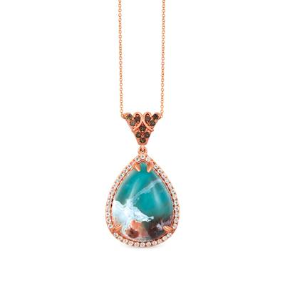 14K Strawberry Gold® Aquaprase Candy 31 1/3 cts., Chocolate Quartz® 1/4 cts., Vanilla Topaz™ 3/4 cts. Pendant | SVIC 4